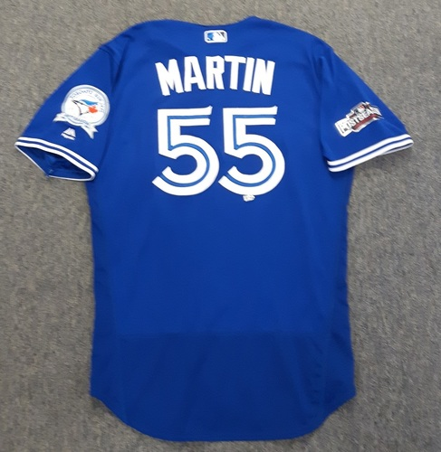 Photo of Authenticated Game Used Postseason Jersey - #55 Russell Martin (October 4 and 9, 2016: Wild Card Game and ALDS Game 3). Martin went 0-for-4 in the Wild Card Game and 1-for-5 with 1 Run and 1 RBI in ALDS Game 3. Size 46.