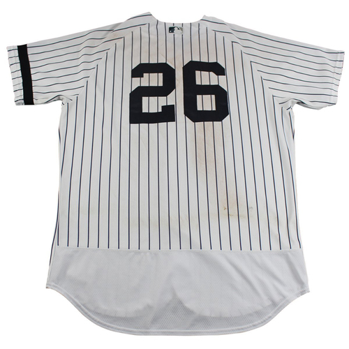 Photo of Tyler Austin New York Yankees Game-Used #26 Pinstripe Jersey (10/1/2017). Jersey Size - 44