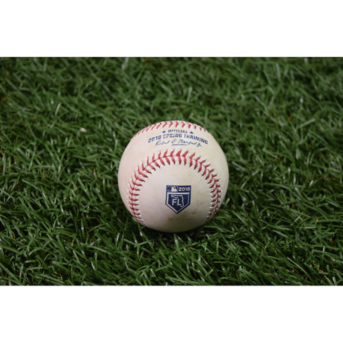 Photo of Spring Training Game Used Baseball: Kevin Kiermaier single and Wilson Ramos RBI double off Matthew Boyd  - March 27, 2018