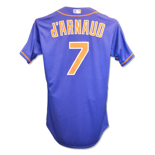 Photo of Travis d'Arnaud #7 - Game Used Blue Alt. Home Jersey - Worn During Game 1 of 2015 NLCS, 2-4, HR; Worn During Game 2 of 2015 NLCS - Mets vs. Cubs - 10/17/15 - Mets vs. Cubs - 10/18/15