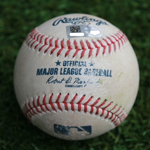 Photo of Game-Used Baseball: Brad Miller 542nd Career Hit and 272nd Career RBI (CLE @ KC - 4/14/19)