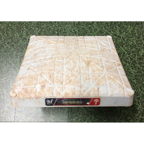 Photo of Game-Used 2nd Base (INN 1-3) MIL@PHI 05/14/19 - Keston Hiura MLB Debut Game