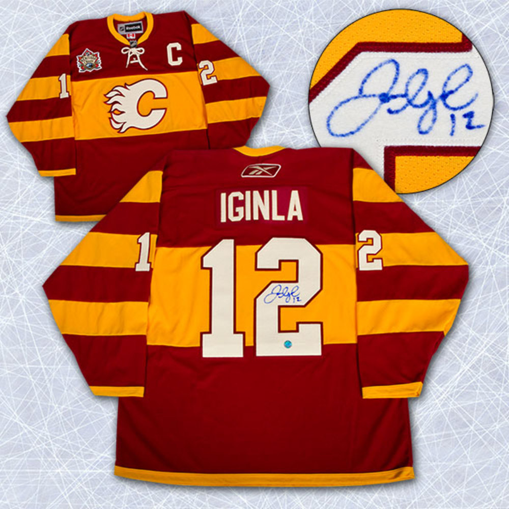 8194f36c22d ... Jarome Iginla Calgary Flames Signed 2011 Heritage Classic Reebok  Premier Jersey ...