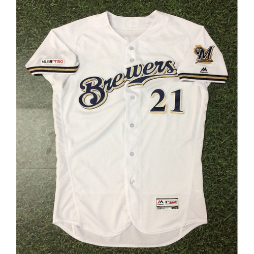 Photo of Travis Shaw 2019 Game-Used Home White Jersey