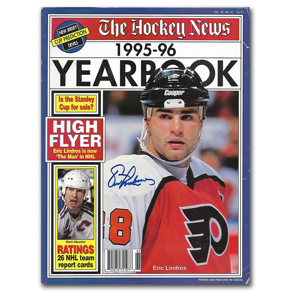Eric Lindros Autographed THE HOCKEY NEWS 1995-96 Yearbook