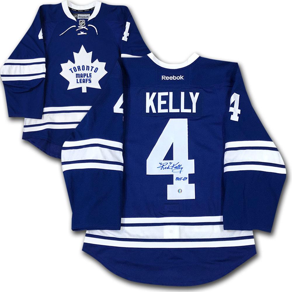 Red Kelly Autographed Toronto Maple Leafs Pro Jersey w/HOF 69 Inscription
