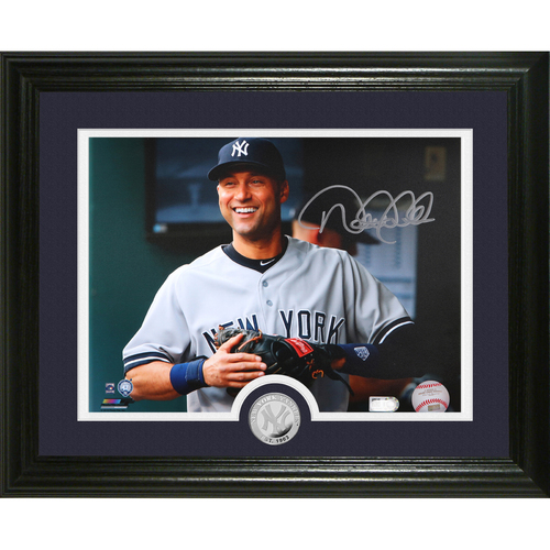 "Photo of Derek Jeter Autographed ""Dugout"" Silver Coin Photo Mint"