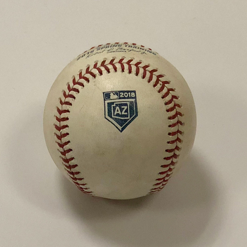 Photo of Game-Used Baseball: 2018 AZ Spring Training - Ariel Miranda / Matt Chapman RBI 2B (Bottom 2) 3/15/18 vs SEA