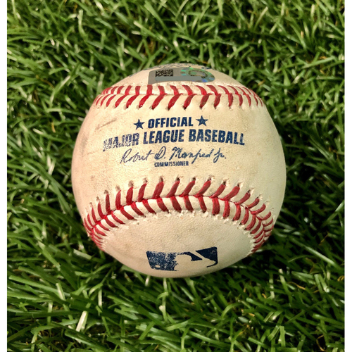 Photo of Game Used Baseball: Giavanny Urshela single and Erik Kratz double off Jalen Beeks - First Seven Inning DH at Tropicana Field - Game 2 - August 8, 2020 v NYY
