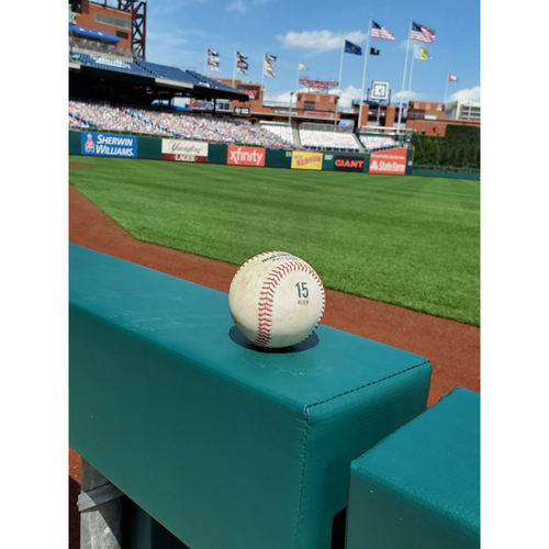 Photo of 2020 Game-Used Baseball (ALLEN 15 stamp): Pitcher: Anibal Sanchez, Batter: Bryce Harper - Single - Bot 1 - 9-3-2020 vs. WAS