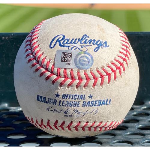 Photo of Colorado Rockies Game-Used Baseball- Pitcher: Rico Garcia, Batter: Garrett Hampson (Double to Austin Slater) - August 6 vs. San Francisco Giants.
