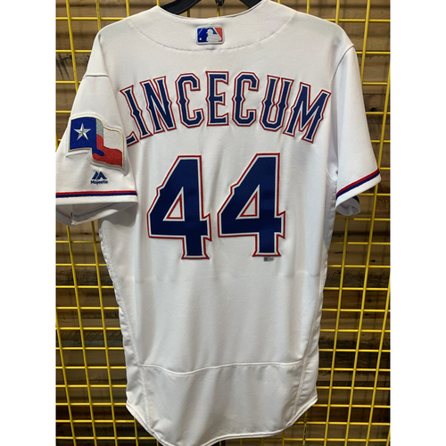Photo of 2018 Team-Issued Texas Rangers Home White Jersey - Tim Lincecum