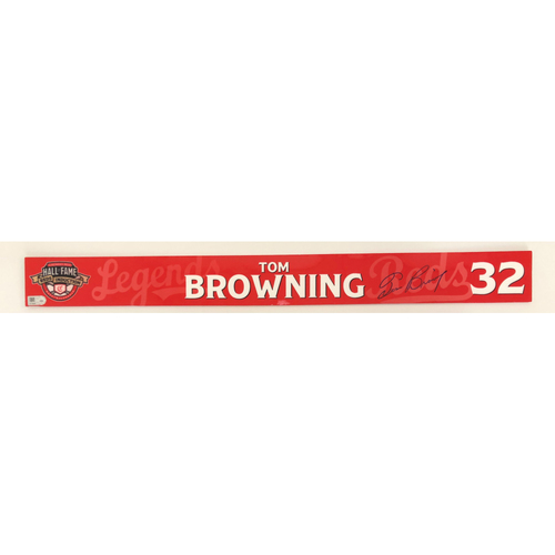 Photo of Tom Browning - Game-used and Autographed Locker Name Plate: 2021 Cincinnati Reds Hall of Fame Legends Game