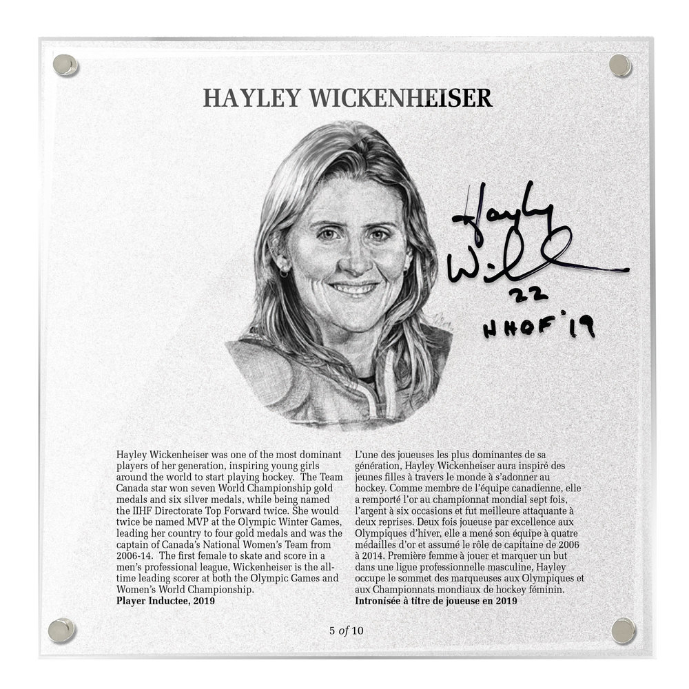 Hayley Wickenheiser Autographed Legends Line Honoured Member Plaque - Limited Edition 9/10