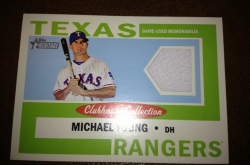 Photo of 2013 Topps Heritage Clubhouse Collection Relics #MY Michael Young
