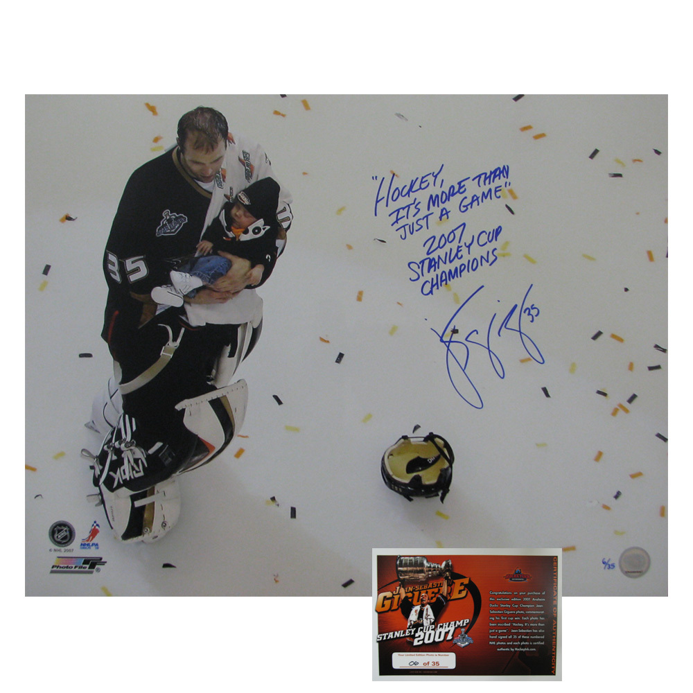 JEAN-SEBASTIEN GIGUERE Signed & Inscribed LIMITED EDITION Anaheim Ducks 2007 Stanley Cup Champs 16 X 20 Photo with Baby - 79005
