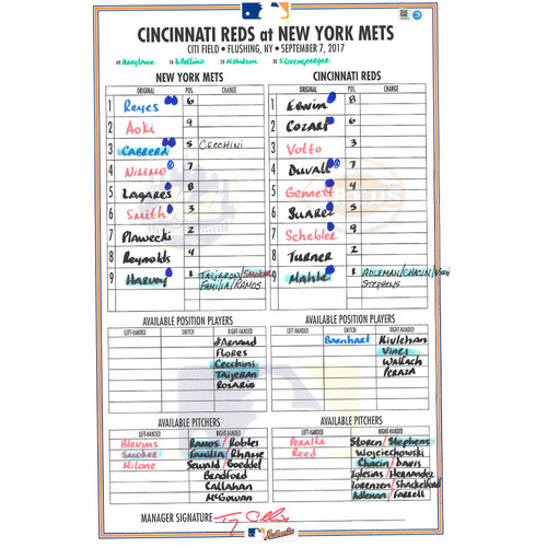 Game Used Lineup Card - Harvey Start, Earns 5th Win of 2017; Nimmo Hits 2 Home Runs - Mets Win 7-2 - Mets vs. Reds - 9/7/17