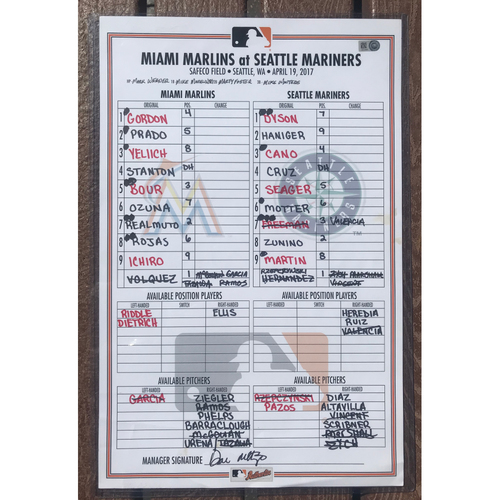 "Photo of Game-Used Lineup Card: ""Ichiro Homers in Seattle"" (MIA vs SEA 4.19.17)"