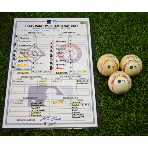 Photo of Game Used Line-Up Card and Baseball Package: Tampa Bay Rays vs Texas Rangers - July 22, 2017