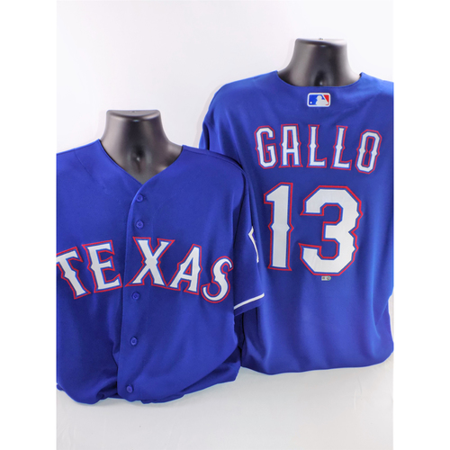 Photo of Joey Gallo Game-Used Blue Jersey - Worn While Hitting Home Runs #5 And #14 - Size 48