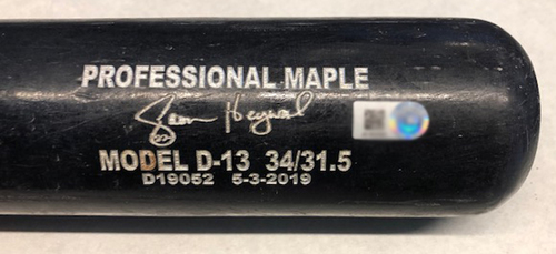 Photo of Jason Heyward Game-Used Cracked Bat -- Jeremy Jeffress to Jason Heyward, Ground Out, Bot 8 -- Brewers vs. Cubs -- 5/11/19