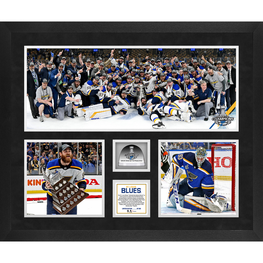 St. Louis Blues 2019 Stanley Cup Champions Framed 20'' x 24'' 3-Photograph Collage with Game-Used Ice from the 2019 Stanley Cup Final - #1 of a Limited Edition of 500