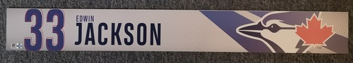 Photo of Authenticated Game Used Locker Name Plate: #33 Edwin Jackson (2019 Regular Season)