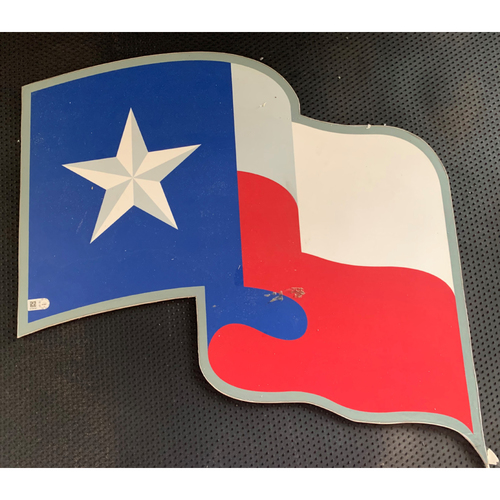 Photo of Texas Rangers Texas Flag Logo Sign Displayed in Tunnel Leading From Home Clubhouse to Home Dugout at Globe Life Park