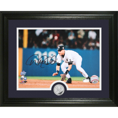 "Photo of Derek Jeter Autographed ""Fielding"" Silver Coin Photo Mint"