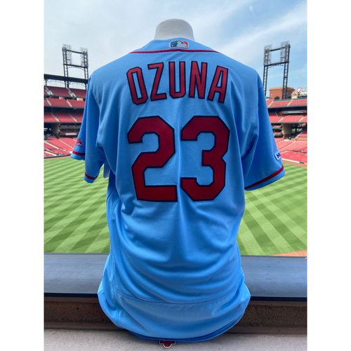 Photo of Cardinals Authentics: Team Issued Marcell Ozuna Road Alternate Blue Jersey