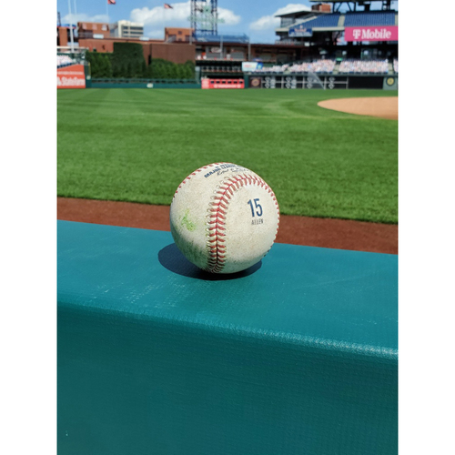 Photo of 2020 Game-Used Baseball (ALLEN 15 stamp): Pitcher: Zach Eflin, Batter: Juan Soto - Double - Top 3 - 9-3-2020 vs. WAS