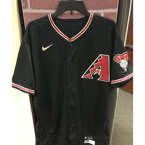 Photo of Daulton Varsho 2020 Game-Used Black Alternate Jersey: 9/26/20 vs. Rockies (Varsho went 2-4 with a Double and 1 Run Scored)