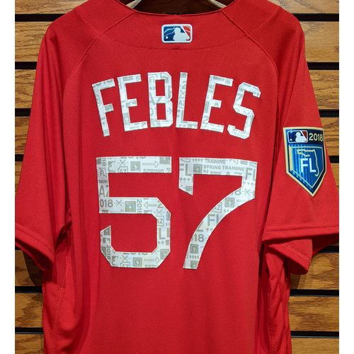 Photo of Coach Carlos Febles #57 2018 Spring Training Red Team Issued Jersey