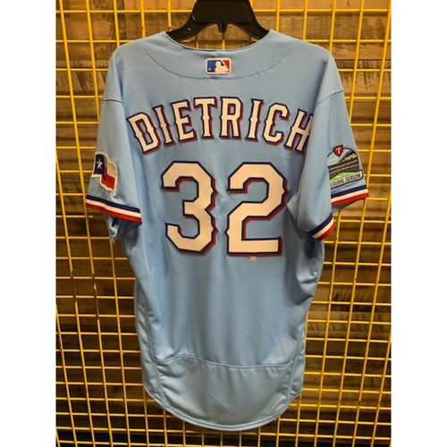 Photo of 2020 Team-Issued Texas Powder Blue Jersey - Derek Dietrich