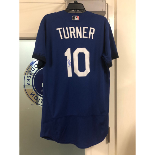 Photo of Justin Turner Authentic Autographed City Connect Jersey - Size 42