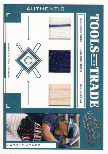 Photo of 2004 Absolute Memorabilia Tools of the Trade Material Trio #60 Jacque Jones/100