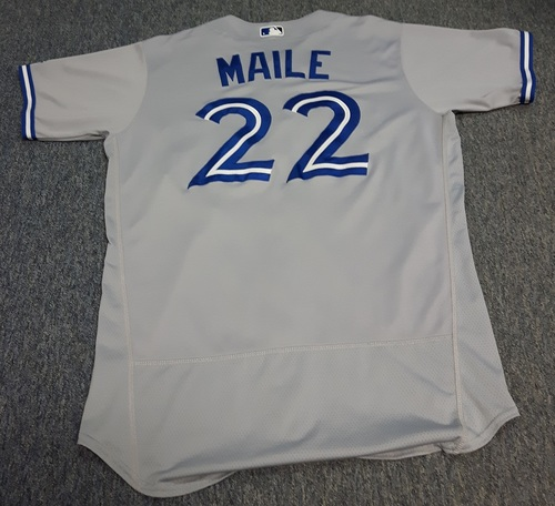Photo of Authenticated Game Used Jersey - #22 Luke Maile (May 18, 2017: 1-for-4 with 1 HR, 1 Run and 1 RBI. September 3, 2017: 0-for-1. September 30). Size 46.