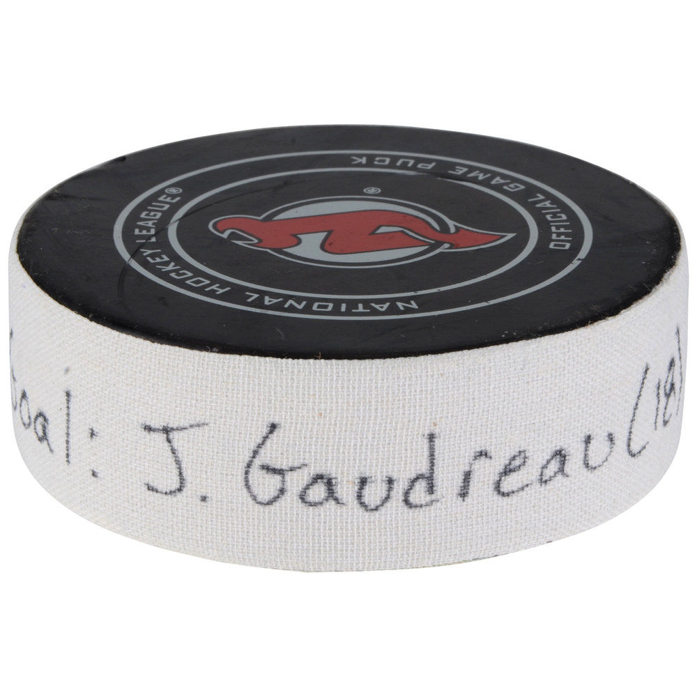 Johnny Gaudreau Calgary Flames Goal Scored Puck From February 8, 2018 vs. New Jersey Devils