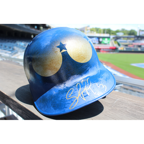 Photo of Game-Used and Autographed Batting Helmet: Salvador Perez 873rd Career Hit (Size 8 - Inning 1 - KC at SEA - 6/30/18)
