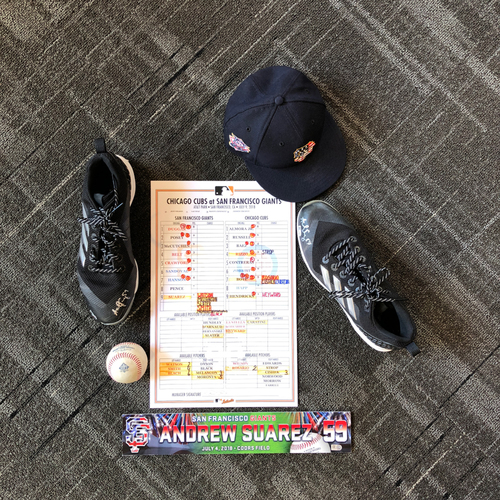 Photo of San Francisco Giants - Andrew Suarez Game-Used Memorabilia Ultimate <i>From The Clubhouse</i> Collector's Pack