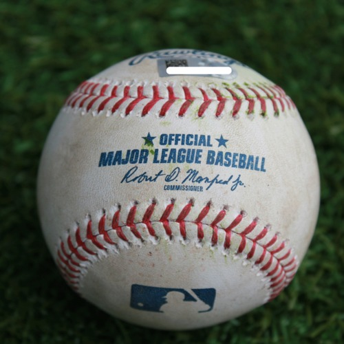 Photo of Game-Used Baseball: Andrelton Simmons 955th Career Hit (LAA @ KC - 4/27/19)