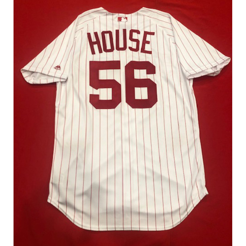 Photo of J.R. House -- 1967 Throwback Jersey & Pants -- Game-Used for Rockies vs. Reds on July 28, 2019 -- Jersey Size: 46 / Pants Size: 36-40-16