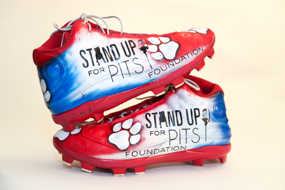My Cause My Cleats -  Patriots Danny Shelton signed custom cleats - supporting  Stand Up For Pits Foundation - Danny Also wore these same cleats in the Patriots Super Bowl LIII victory