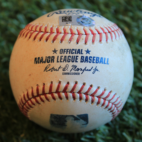 Photo of Game-Used Baseball: J.D. Davis 124th Career Hit (8/16/19 - NYM @ KC)
