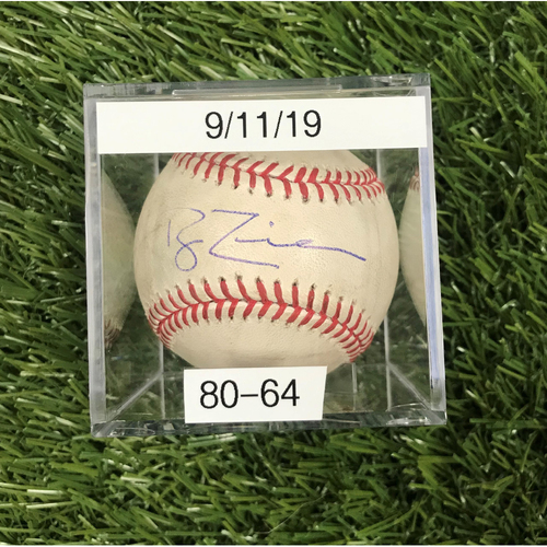 Photo of Win #80: 9/11/2019 Game-Used Baseball - Autographed by Ryan Zimmerman