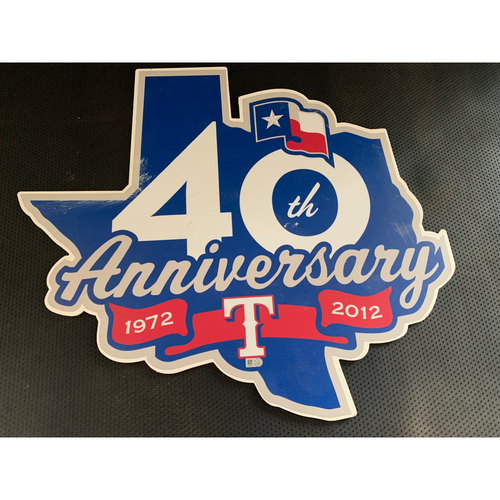 Photo of Texas Rangers 40th Anniversary Logo Sign Displayed in Tunnel Leading From Home Clubhouse to Home Dugout at Globe Life Park
