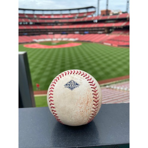 Photo of Cardinals Authentics: Game Used Pitched Baseball by Carlos Martinez to Ozzie Albies NLDS Game 4 *Foul*