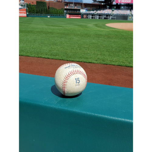 Photo of 2020 Game-Used Baseball (ALLEN 15 stamp): Pitcher: Anibal Sanchez, Batter: Rhys Hoskins - Home Run - Bot 3 - 9-3-2020 vs. WAS