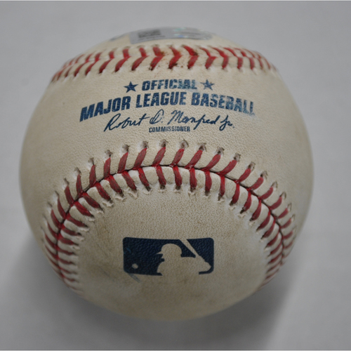 Photo of Game-Used Baseball - MIL vs. PIT - 8/22/2020 - Pitcher - Angel Perdomo (MIL), Batter - Colin Moran, Bot 7, Ground-Rule Double