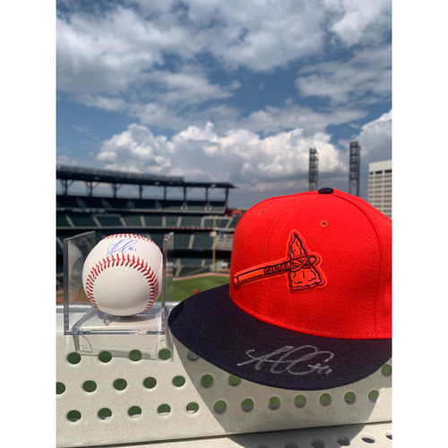 Photo of Ozzie Albies MLB Authenticated Autographed Hat and Baseball, Combo